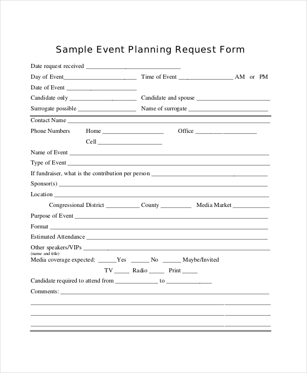 event planning request form