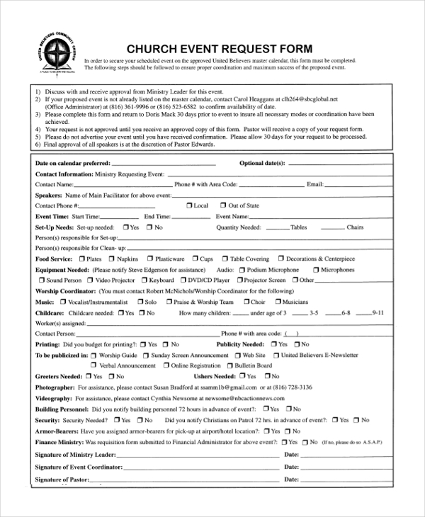 event request form for church