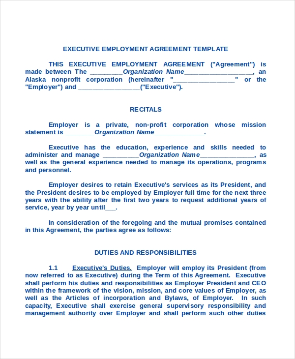 Sample Employment Contract Forms 11 Free Documents in PDF Doc – Executive Employment Agreement