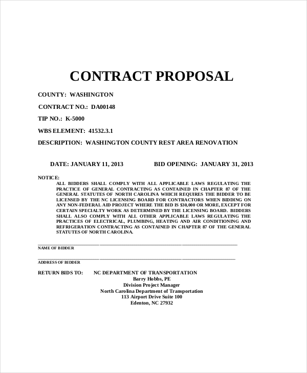 Sample Proposal Contract Free Print Contractor Proposal Forms Forms