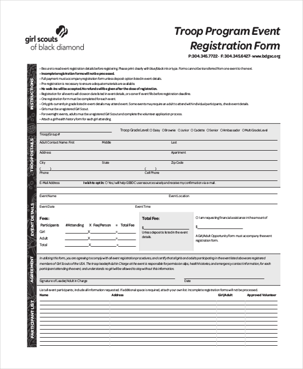 girl scout event registration form