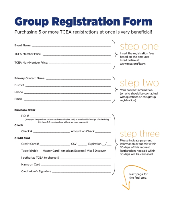 group event registration form