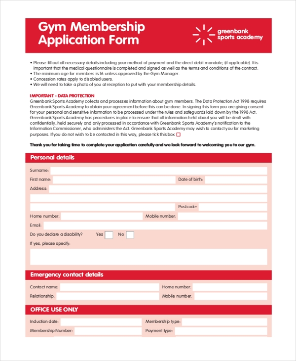 Gym Membership Application Form  Membership Forms Templates