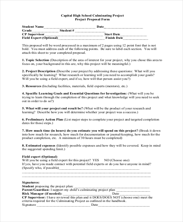 Sample Project Proposal Form   Free Documents In Word Pdf
