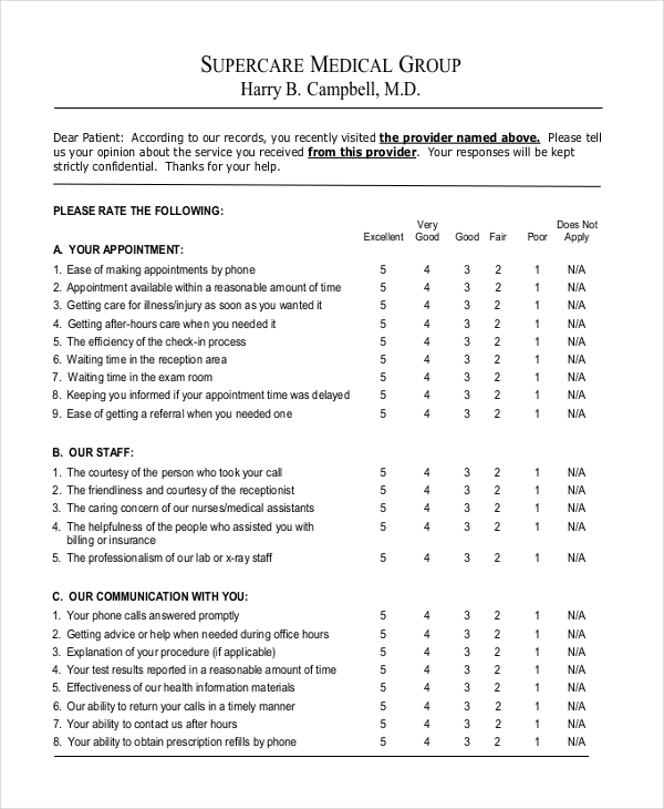 hospital customer satisfaction form