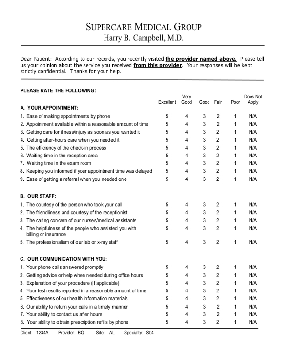 Patient Survey Template P Chart Of Patient Satisfaction Survey