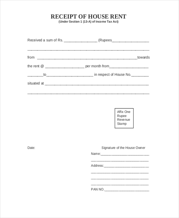 Sample Receipt of Payment Form 7 Free Documents in PDF – Receipt for Rental Payment