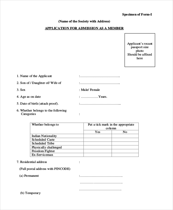 housing society membership application form
