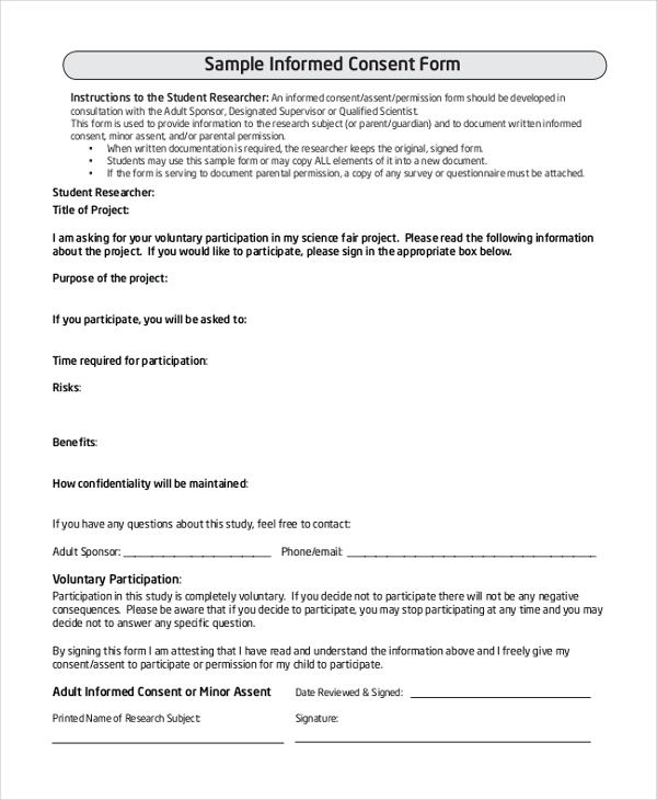 Sample Survey Consent Forms 8 Free Documents in PDF Word – Research Consent Form Template