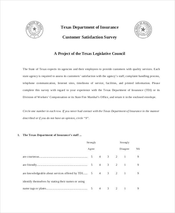 insurance customer satisfaction survey form