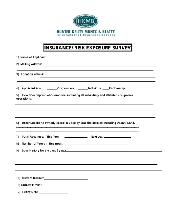 insurance survey form