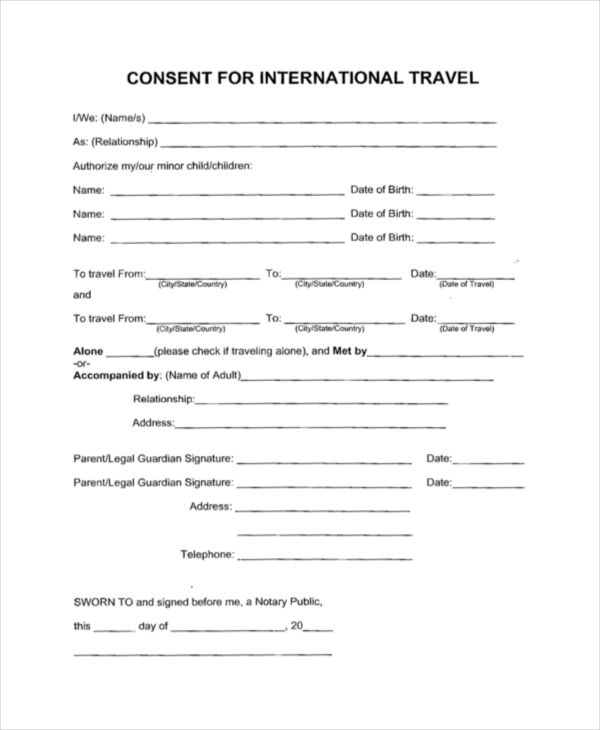 International Travel Consent Form