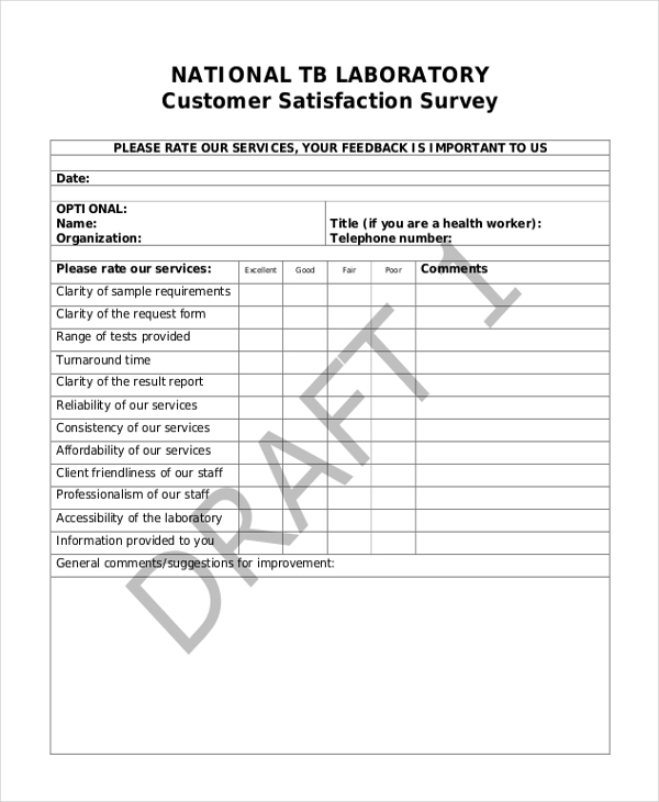 Sample Customer Survey Form 9 free Documents in PDF – Sample Customer Survey