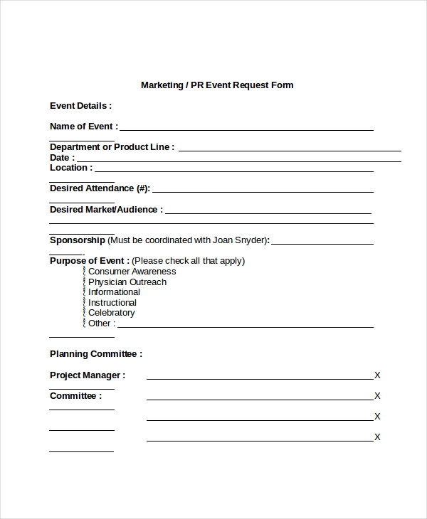 marketing event request form