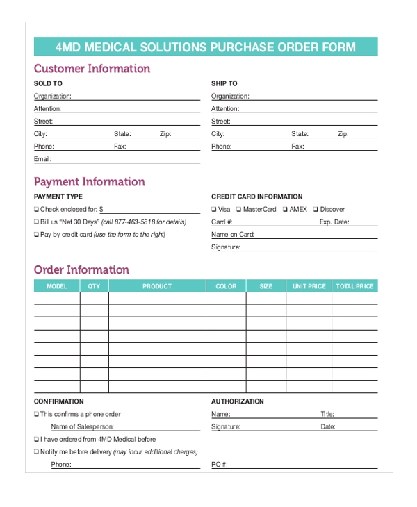 Sample Blank Purchase Order Form   Free Documents In Word Pdf