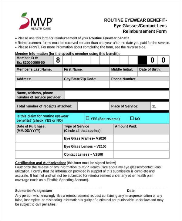 Sample Medicare Reimbursement Form - 6+ Free Documents in PDF