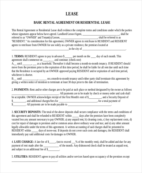 Sample Month To Month Lease Form   Free Documents In Pdf Word