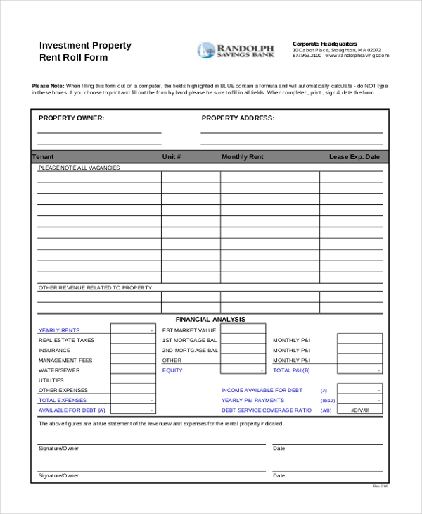 Sample Rent Roll Forms   10+ Free Documents In PDF, Xls