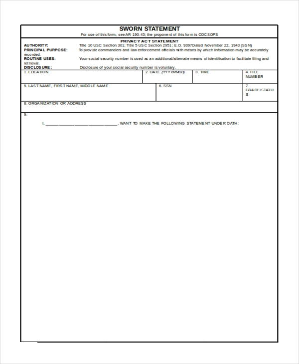 navy sworn statement form for the army