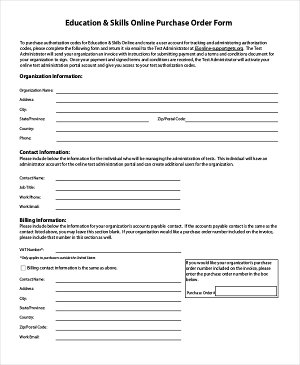 Sample Online Purchase Order Form