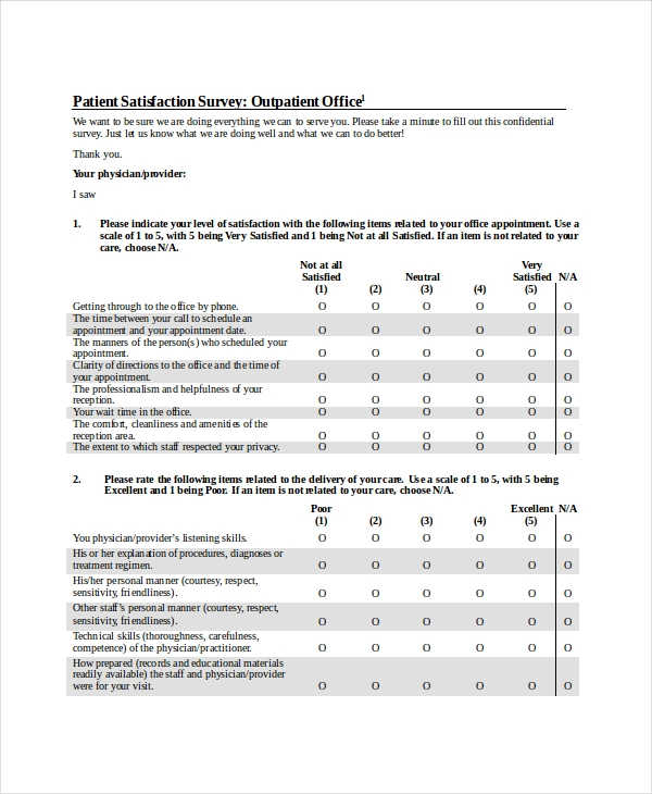 Sample Patient Satisfaction Questionnaire Forms - 9+ Free ...