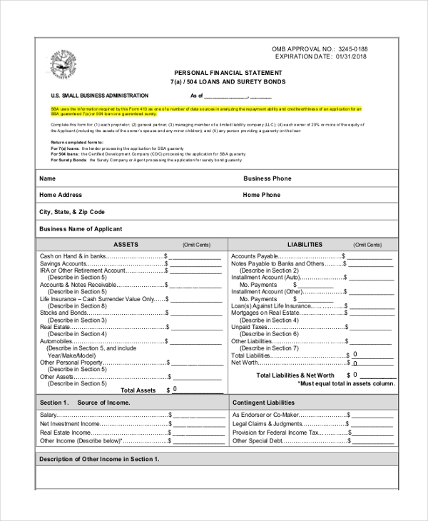 Sample Financial Statement Forms   Free Documents In Pdf Word