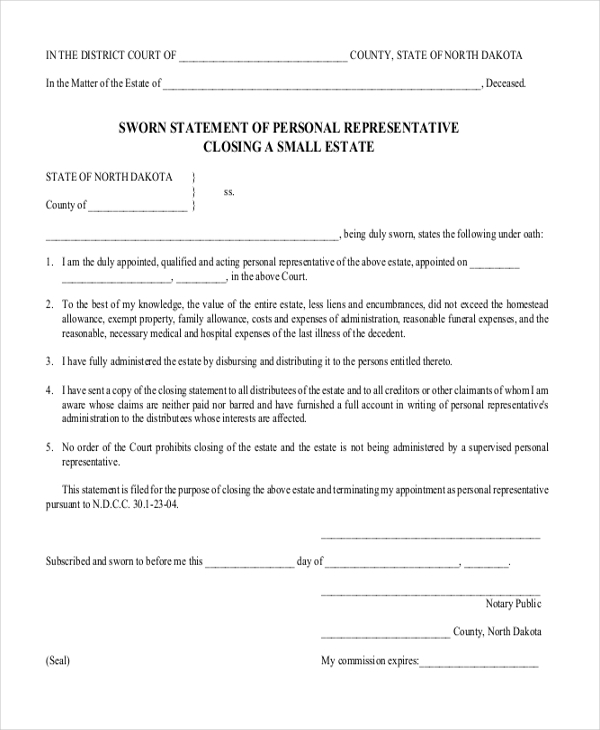 Sworn Statement Template  Example Of Sworn Statement