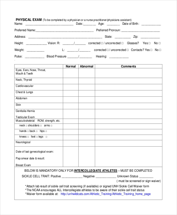 FREE 10+ Sample Physical Assessment Forms in PDF | MS Word ...
