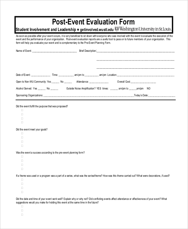 Sample Event Evaluation Forms   Free Documents In Pdf Doc