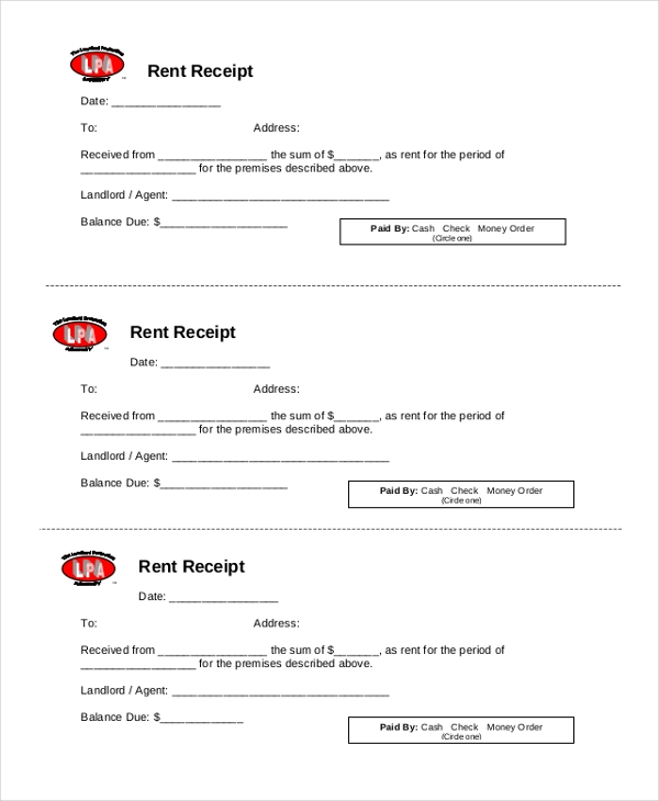 printable rent receipt form