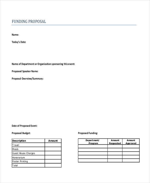 Sample Funding Proposal Form   Free Documents In Word Pdf