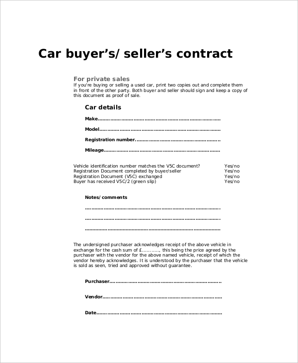 Sample Purchase Agreement Forms 10 Free Documents in PDF Word – Vehicle Purchase Agreement
