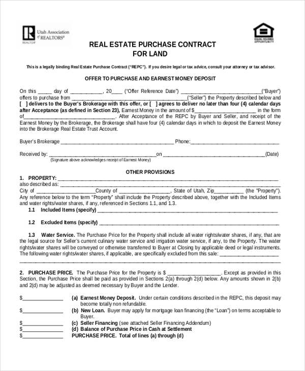 Sample Property Purchase Agreement Printable Sample Down Payment