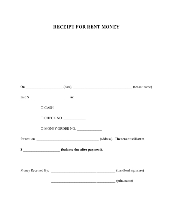 receipt of rent payment form