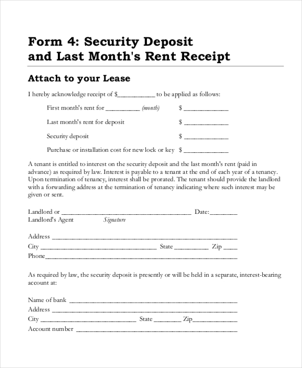 Sample Security Deposit Receipt Form 8 free Documents in Word PDF – Tenant Receipt