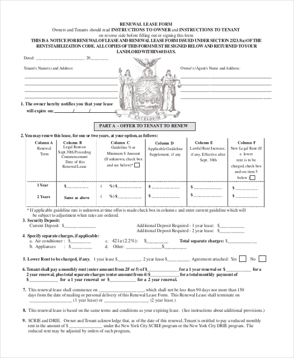Sample Lease Renewal Forms 10 Free Documents In Pdf Doc