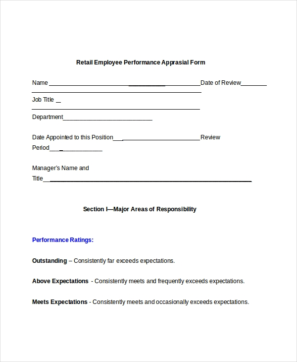 Sample Retail Appraisal Forms 8 Free Documents in PDF Doc – Monthly Appraisal Form