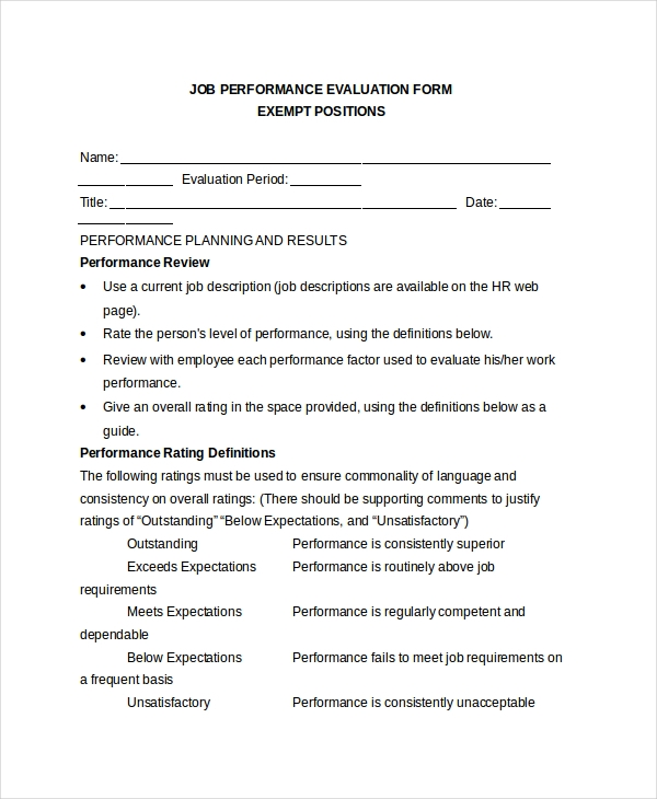 retail sales appraisal form