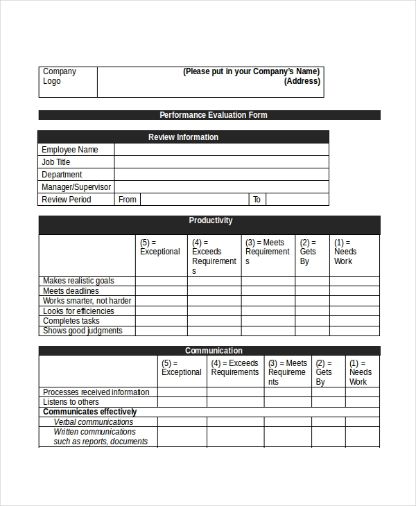Retail Sales Associate Appraisal Form  Employee Appraisal Form Sample