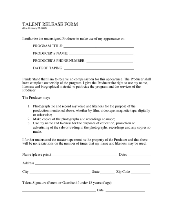 Sample Talent Release Form 10 Free Documents in Word PDF – Sample Talent Release Form