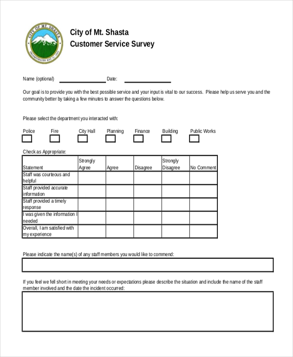 service quality and customer satisfaction questionnaire