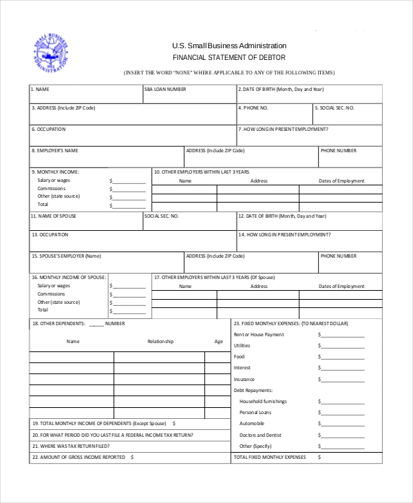 Personal financial statement template sba