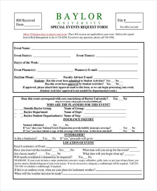 14 Sample Event Request Forms – Student Request Form