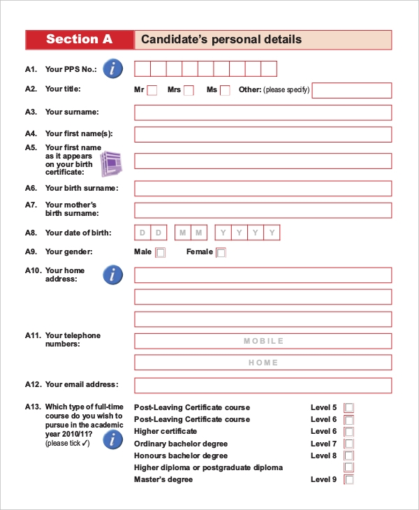 Sample Student Application Forms   Free Documents In Pdf Word