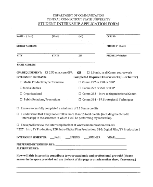 sample student application forms 14 free documents in pdf word