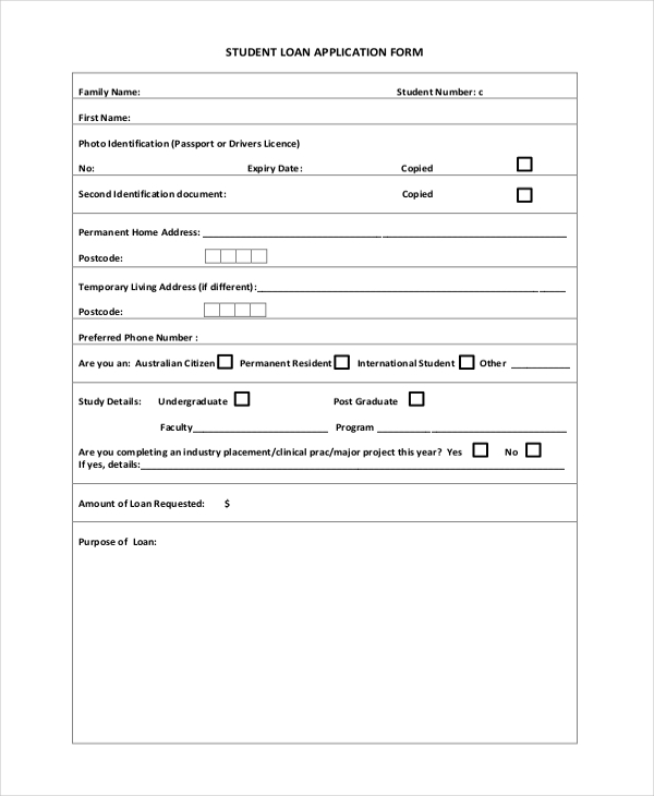Loan application format 28 images 15 application form templates sle student application forms 14 free documents in altavistaventures Images