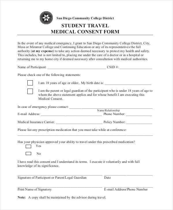 Sample Medical Consent Form Minor Child Medical Authorization Form