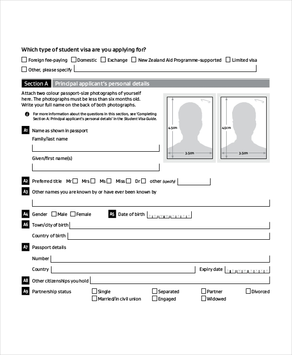 student visa application form