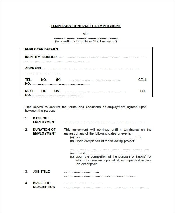 Sample Employment Contract Forms In Pdf