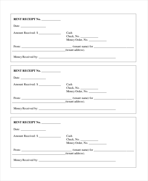 Sample Tenant Rent Receipt Form  Format Of Rent Receipt